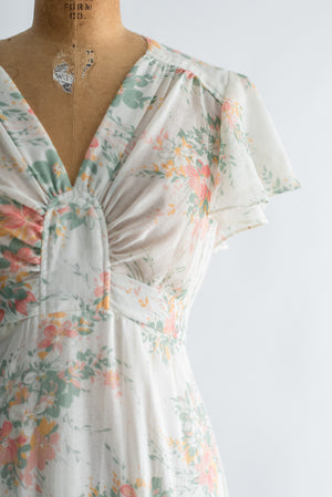 1970s Cotton Flutter Sleeves Floral Print Maxi Dress - S/M
