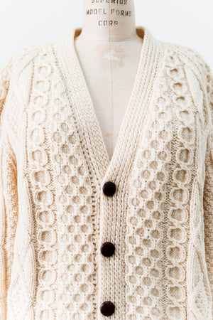 Vintage Wool Cable Kit Chunky Cardigan - M