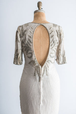1980's Cream with Silver Beaded Dress - M/L