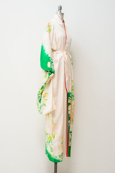 Vintage Green and Ivory Kimono - One Size