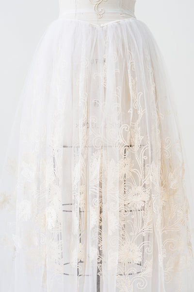 1950s Sheer Tulle Embroidered Gown - S