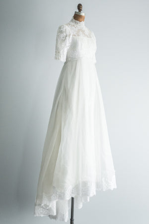 1950s Lace and Chiffon Gown - S