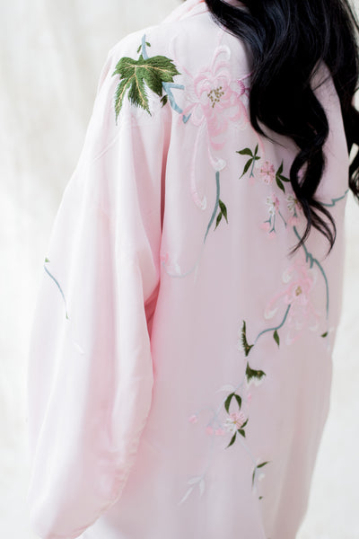 Vintage Light Pink Floral Embroidered Kimono - One Size