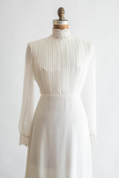 1970s Pleated Chiffon and Lace Gown - S