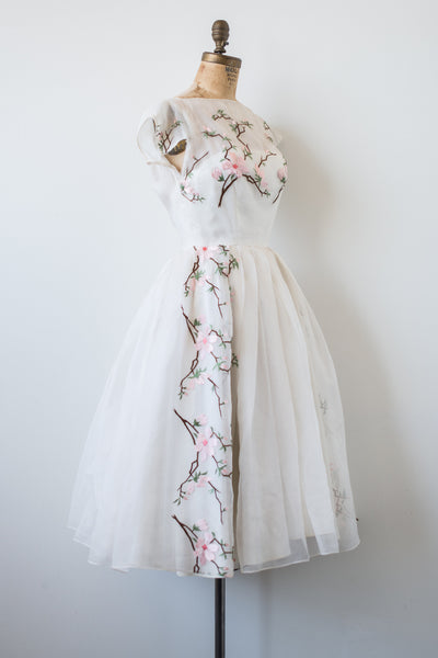 1950s Silk Organza Embroidered Dress - S