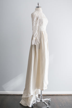 1950's Beaded Lace and Taffeta Gown - XS/S