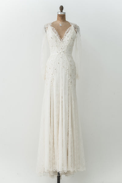 Jenny Packham Silk Lace Long Sleeves Gown - S