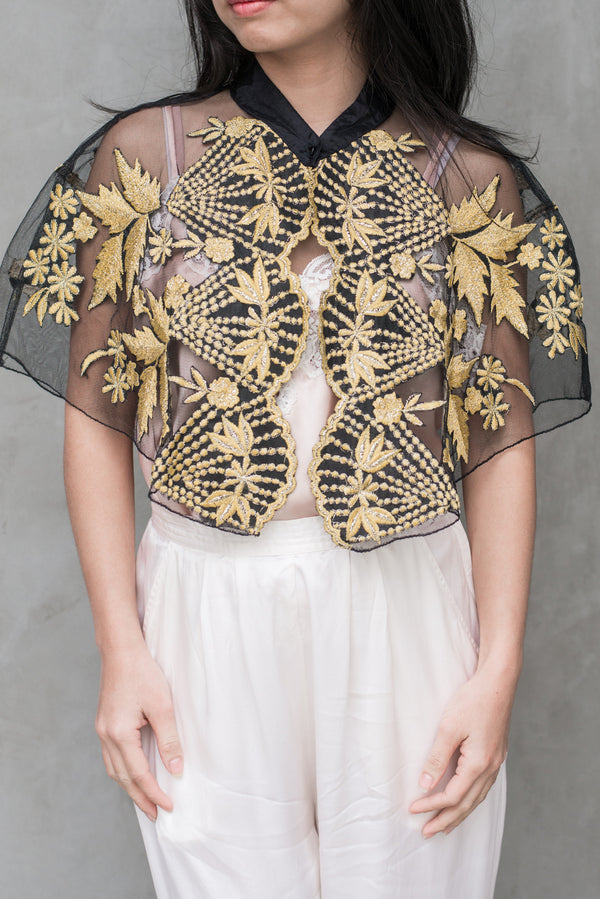 1980s Mary McFadden Embroidered Capelet - One Size