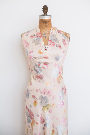 1930s Bias Cut Floral Print Dress - XS/S