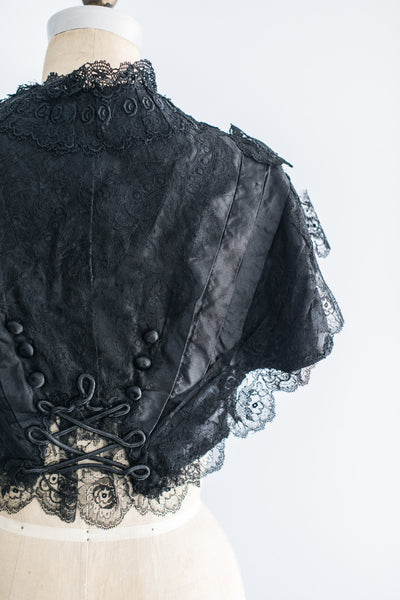 Victorian Silk Chantilly Lace and Tafetta Capelet - XS/S