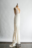 RENTAL Silk Crepe Low V-Neck Gown  - S