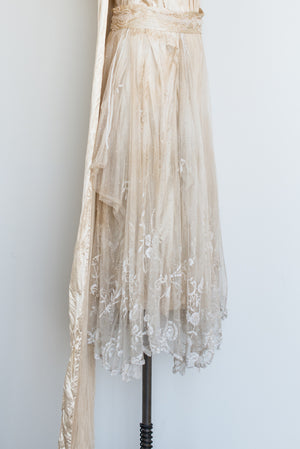1920s Duchesse Lace and Silk Satin Dress - XS