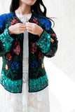 1980s Turquoise and Black Beaded Jacket - M/L