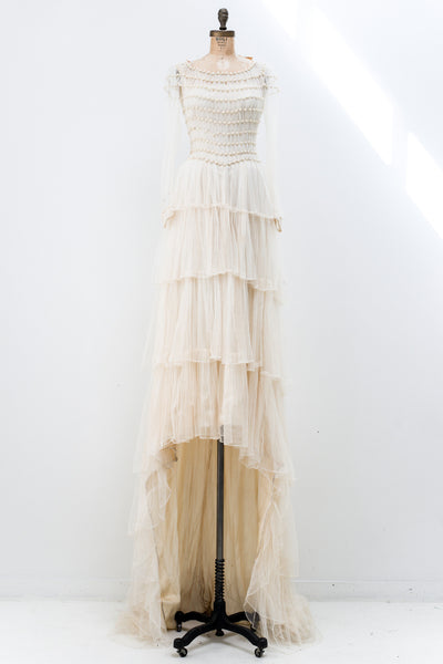 1950s Silk Tulle Pearl Embellished Gown - XS/S