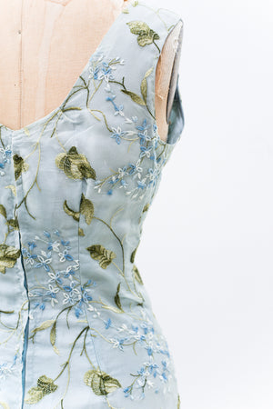 1950s Blue Organza Embroidered Wiggle Dress - S