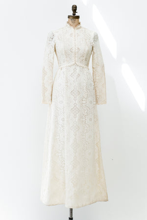 1970 Long Sleeve Crochet Dress - S