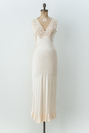 1930s Peach Silk Land Lace Bias Gown - S