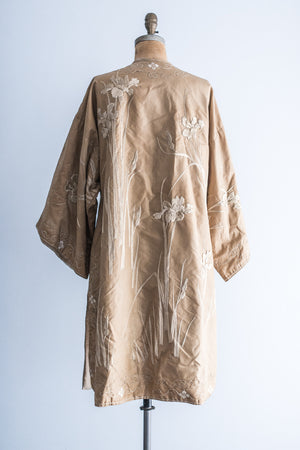 Antique Taupe Export Silk Embroidered Coat - M/L