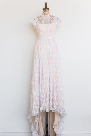 RESERVED 1970s Needle Lace High Neck Gown - S