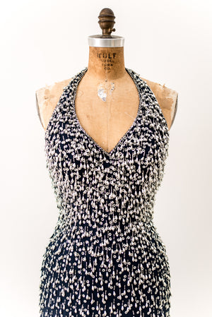 1980s Graduated Chiffon Beaded Halter Dress - S