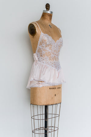 Vintage Nylon and Lace Romper - S