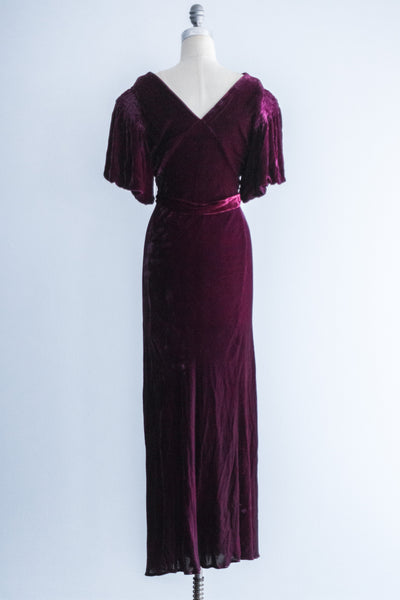 [SOLD] 1930's Wine Silk Velvet Dress - S