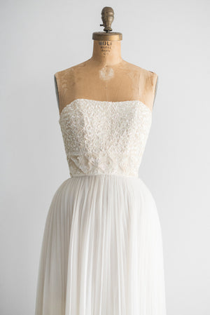 1950s Sequined Pleated Gown - XS/S