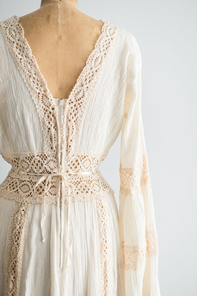 1970s Cotton and Crochet Dress - S/M