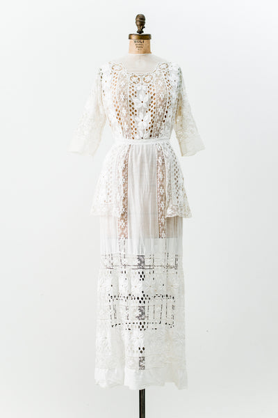 Edwardian Cotton Muslin Embroidered Dress - S
