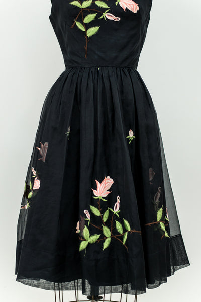 1950s Silk Organza Embroidered Dress - XS/S