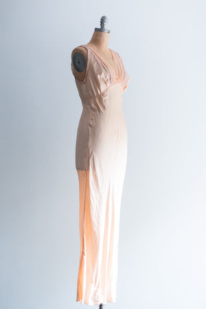 1930s  Peach Silk Slip Gown - S/M