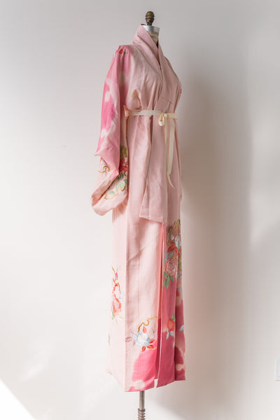 Vintage Pink Embroidered Kimono - One Size