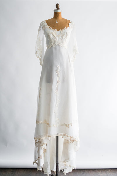 RESERVED 1970s Nylon Chiffon and Lace Gown - S/M