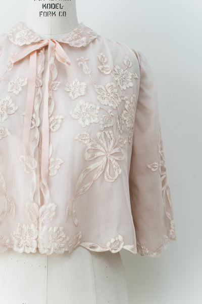 1950s Tricot Chiffon and Painted Lace Bed Jacket - One Size