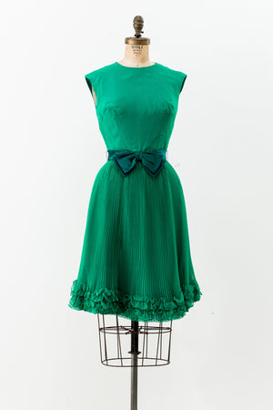 1960s Green Chiffon Pleated Dress - XS