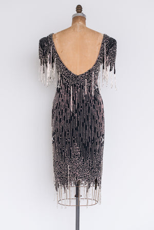 1980s Silk Beaded Dress - S/M