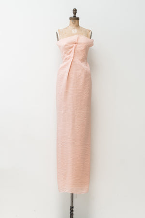 RENTAL Rose Pink Textured Silk Gown - S