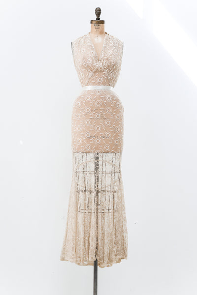 1930s Needle Lace Halter Gown - S