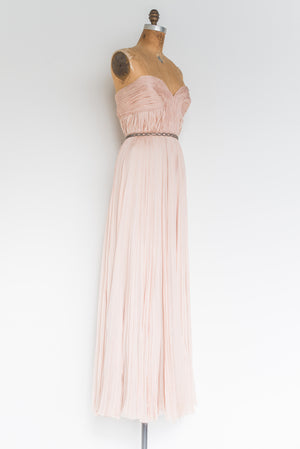 RENTAL J. Mendel Pink Pleated Gown - S/M