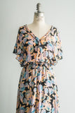 1970s Inspired Silk Floral Maxi Dress - M/L
