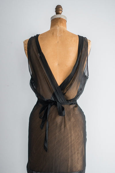 1930s Black Sheer Chiffon Slip - S