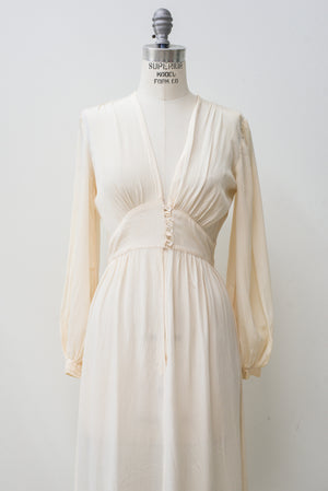 1940s Silk Crepe Gown - XS/S