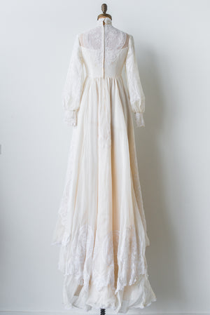 1960s High Neck Poet Sleeves Silk Organza and Lace gown - XS