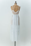 Vintage Light Blue Chiffon Negligee - M