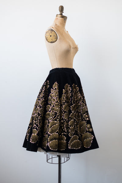1950s Velvet Sequined Skirt - S/M