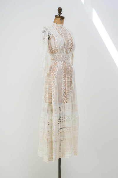 Edwardian Batiste Lace Lawn Dress - XXS