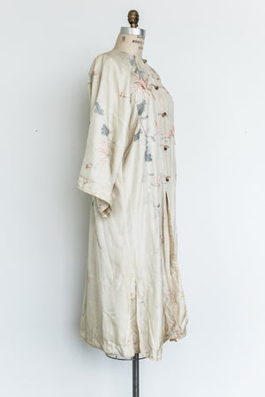 1920s Silk Embroidered Robe - One Size
