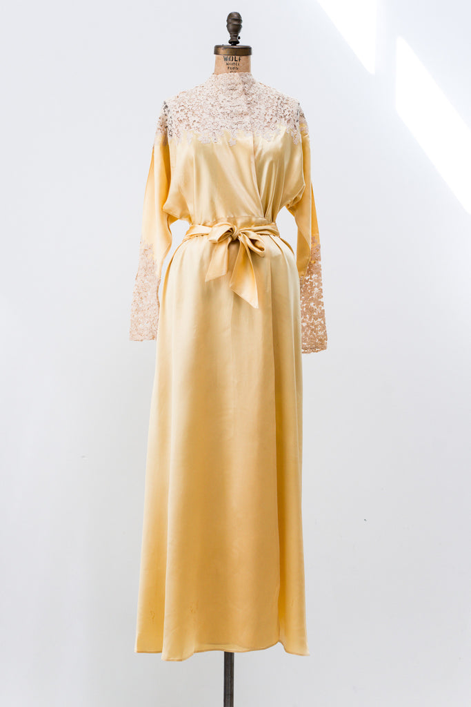 RESERVED 1930s Yellow Silk Satin and Lace Dressing Gown - S ...