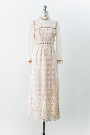 RESERVED 1970s Ivory and Nude Crochet Lace Gown - M