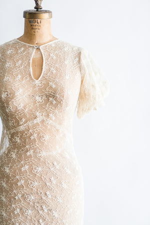1930s Needle Lace Dress - XS